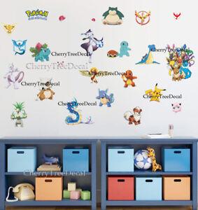 Image Is Loading Pokemon Pikachu Wall Decals Sticker Vinyl Mural Kids