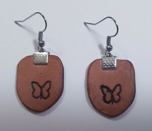 LEATHER-Butterfly-Stamped-Wire-Dangle-Earrings-Handmade-USA