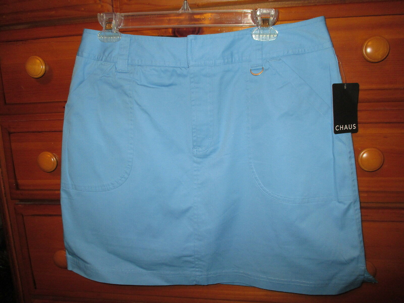 Womens CHAUS bluee Cotton Stretch Tennis Shorts Skirt Skort Sz L 12  NwT ()