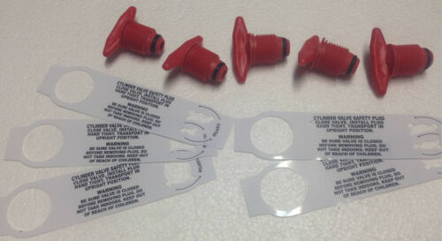 LOT of 10 Red Color Propane Tank P.O.L Plastic Plug pol cap with Saftey Strap