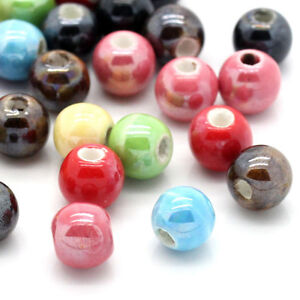 Assorted-50-200Pcs-Round-Ceramic-Porcelain-Loose-Spacer-Beads-Charms-Jewelry-6mm