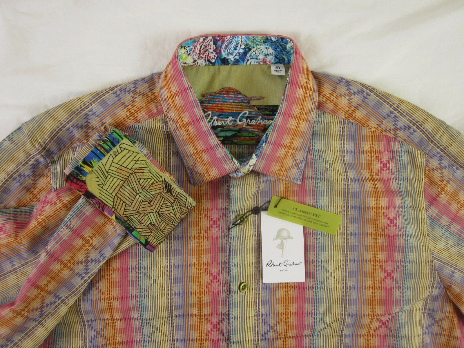 NEW Robert Graham Calico Classic Fit Size XL Button Front Long Sleeve Shirt
