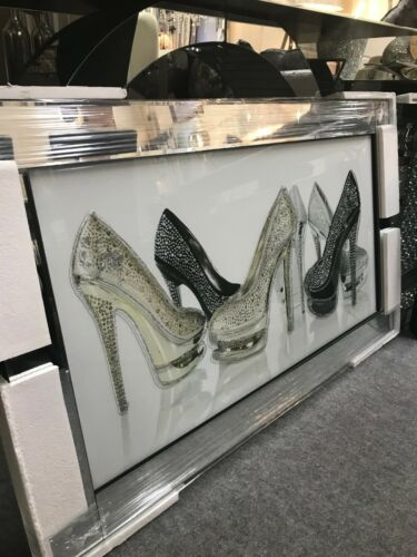 Large high heels stiletto shoe glitter art picture in mirrored frame