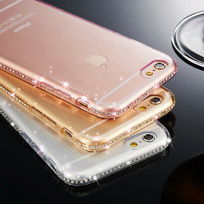 Luxury Ultra Thin Crystal Diamond Bling Gel Case Cover for iPhone 5 6 Samsung S7