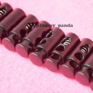 Black-Mini-Cylinder-Hole-1-8-034-2-Holes-Cordlock-Cord-Lock-Toggle-Barrel-End
