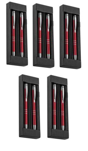 Druckbleistift 5x Metall Schreibset mit Gravur rot Farbe Kugelschreiber