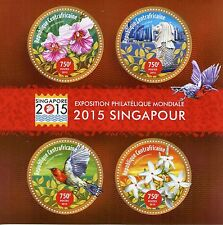 Central African Republic 2015 MNH Singapore 2015 4v M/S Birds Flowers Orchids