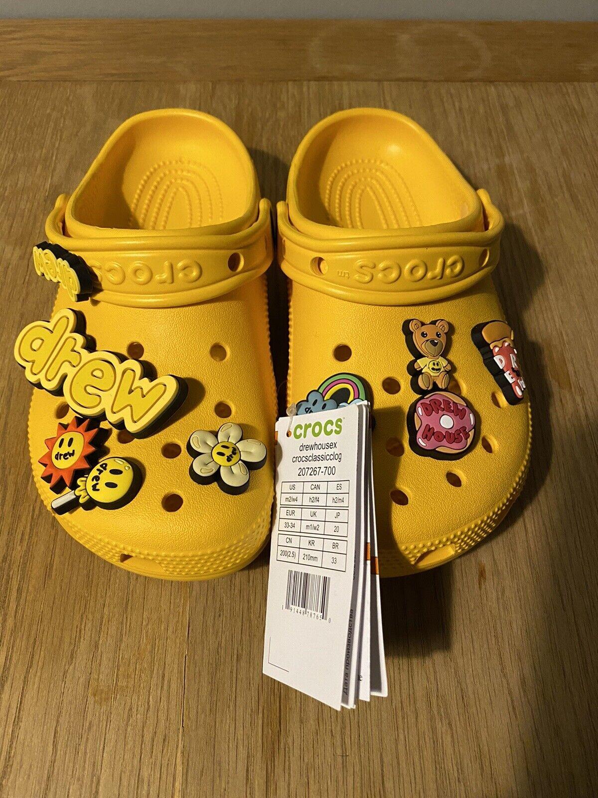 Crocs X Justin Bieber with Drew House U.K. M1 W2 US M2 W4 EUR 33-34 Rare BNWT