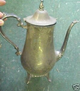 Vintage-Antique-Silverplate-Silver-Tea-Pot-kettle-WOW
