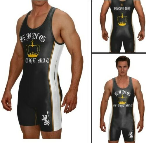 KING OF THE MAT wrestling singlet with custom text included//black