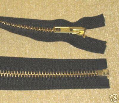 "50 22/"" #5 Brass Zippers ~ Separating ~ Black ~ YKK"