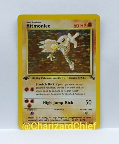 FIRST EDITION HITMONLEE POKEMON CARD HOLO RARE FOSSIL SET COLLECTION 7//62 1ST ED