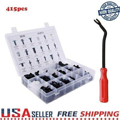 415Pcs Car Plastic Rivets Fastener F ende Bumper Push Pin Clip Free Remover Tool