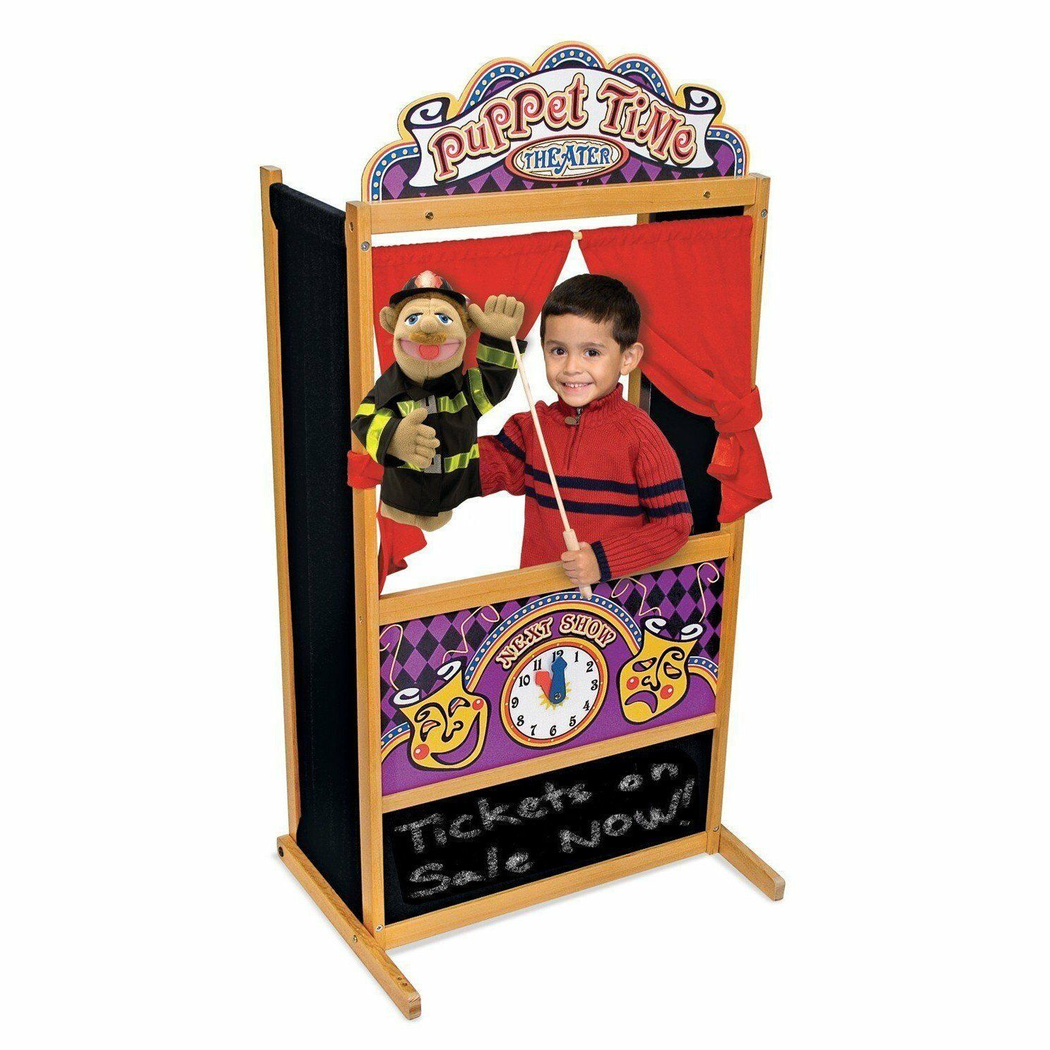Kid Hand Puppet Theater Stage Wood Educational Show Chalk Board Pretend Play New