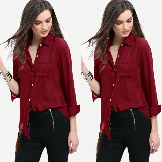 US New Fashion Women Casual Blouse Loose Long Sleeve Chiffon Shirt Tops& Blouse