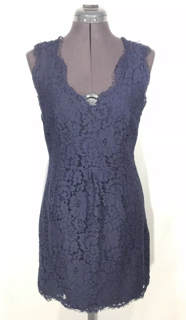 Joie Rori Dress Sz L Navy Blau Eyelash Scalloped Lace V-Neck Cocktail Mini