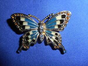 Vintage brooch butterfly blackwhite emamelled