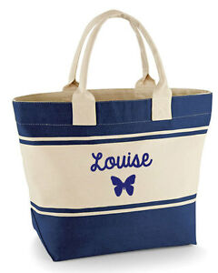 e41295a7c Image is loading Personalised-Ladies-039-canvas-butterfly-Beach-Bag-Large-