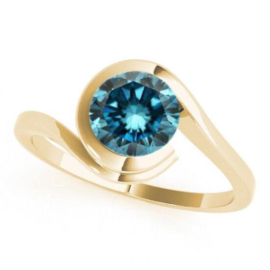 1 Carat Fancy bluee Diamond Round I1 Sparkling Solitaire Wedding Ring 14k gold