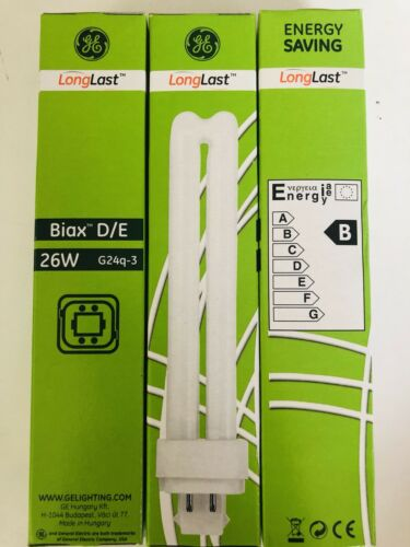 GE Long last Biax D//E 26W 4PIN G24Q-3 BULB NEW BOX FREE POST