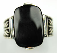 Men's Black Onyx Ring Sz 10 Us Sterling Silver