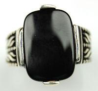 Men's Black Onyx Ring Sz 10 Us Sterling Silver