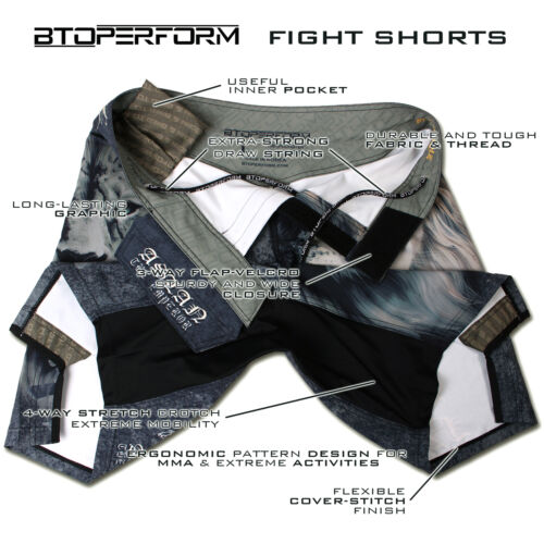 BTOPERFORM FS-09 FIGHT SHORTS MMA TRUNK Grappling Kick Boxing Muay Thai BJJ