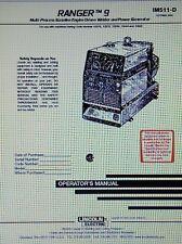 Lincoln Ranger 9 Welder & Onan Engine Operator, Service & Parts (4 Manuals) 210p