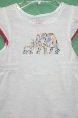 Calypso St Barth Outfit Pink White Elephants Skirt T Shirt Toddler Girls 2 piece