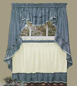 Merveilleux Image Is Loading NEW Sturbridge Blue Ruffled Kitchen Curtains By Cambridge