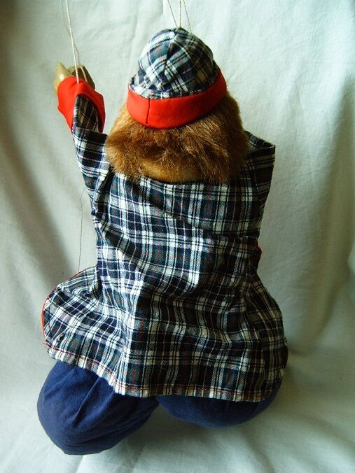 Vintage old toy puppet doll clown a wooden head rare rare rare 59ddf7