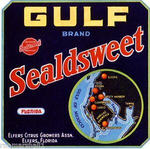 De land Florida Canary Brand Sealdsweet Orange Citrus Fruit Crate Label Print