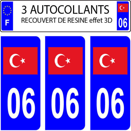3 sticker plaque immatriculation auto DOMING 3D RESINE DRAPEAU TURQUE TURQUIE 06
