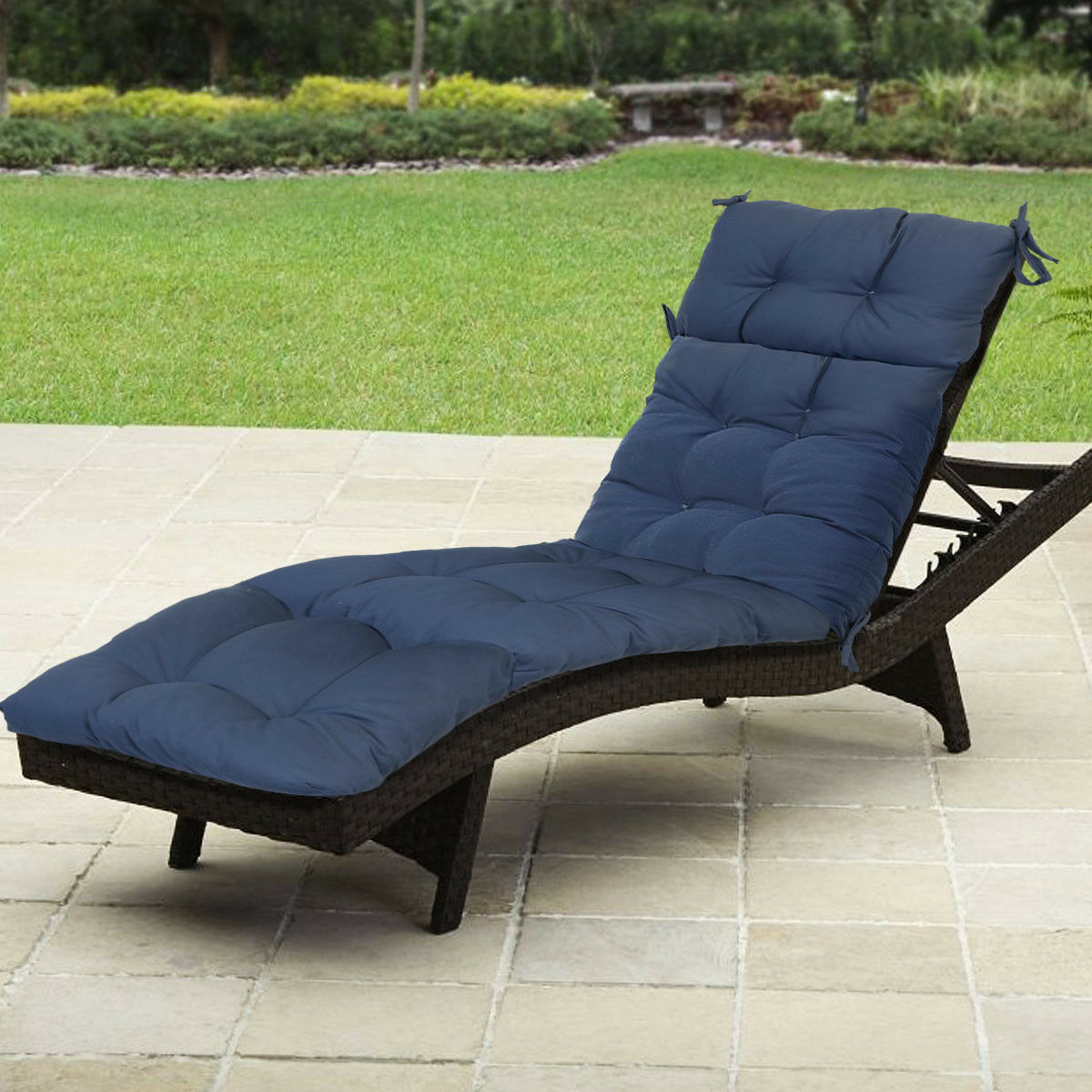 Details About Outdoor Patio Pretty Wicker Chaise Lounge Chair Cushion Made In Usa Navy Blue
