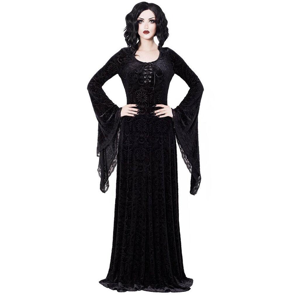 Killstar Gothic Goth Okkult Wiccan Samt Burnout Maxikleid Kleid Hexe Mai Schwarz