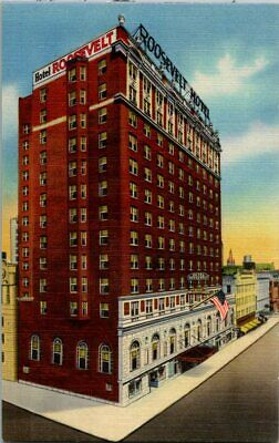 Duval County Jacksonville FL ~ Free Shipping 1940s BW Photo Postcard- View of Main Lobby Hotel Roosevelt Florida