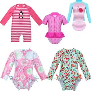 Baby Girls Long Sleeve Swimsuit Rash Guard Kid Two Pieces Ruffle Swimswear Sunsuit 2-8t