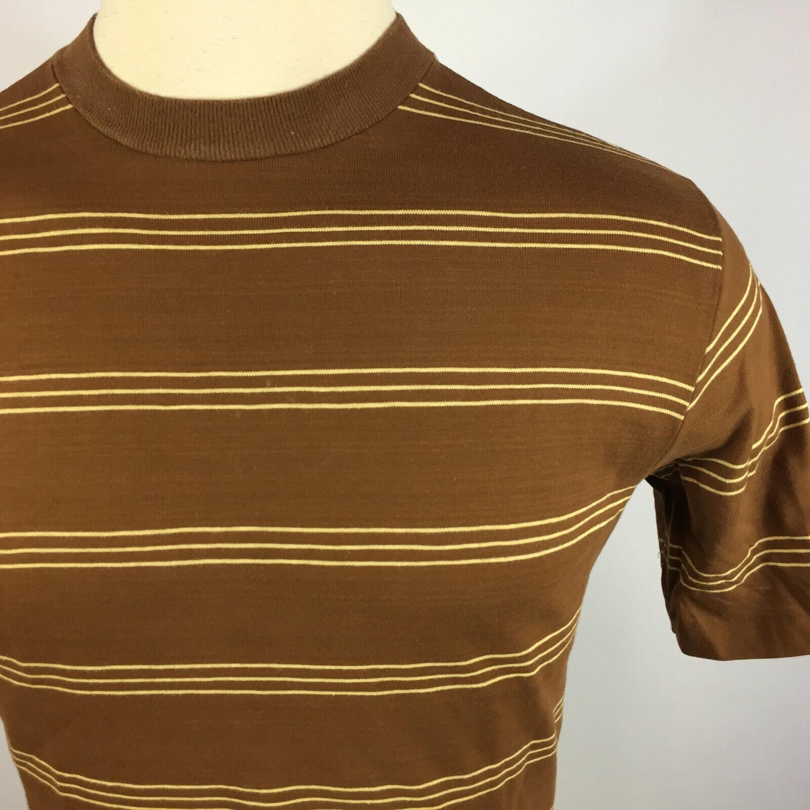 Vintage 50s 60s Shelfield Knit Surf Stripe Brown … - image 3