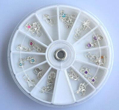 24 Acrylic Nail Art Rhinestone Dangles Charms + Wheel