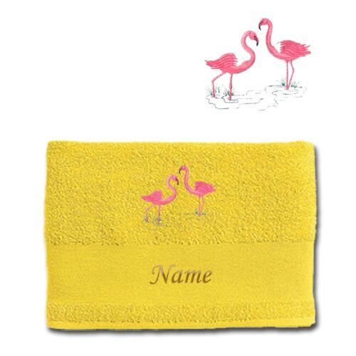 Name Handtuch Duschtuch Badetuch Baumwolle bestickt Stickerei Flamingo