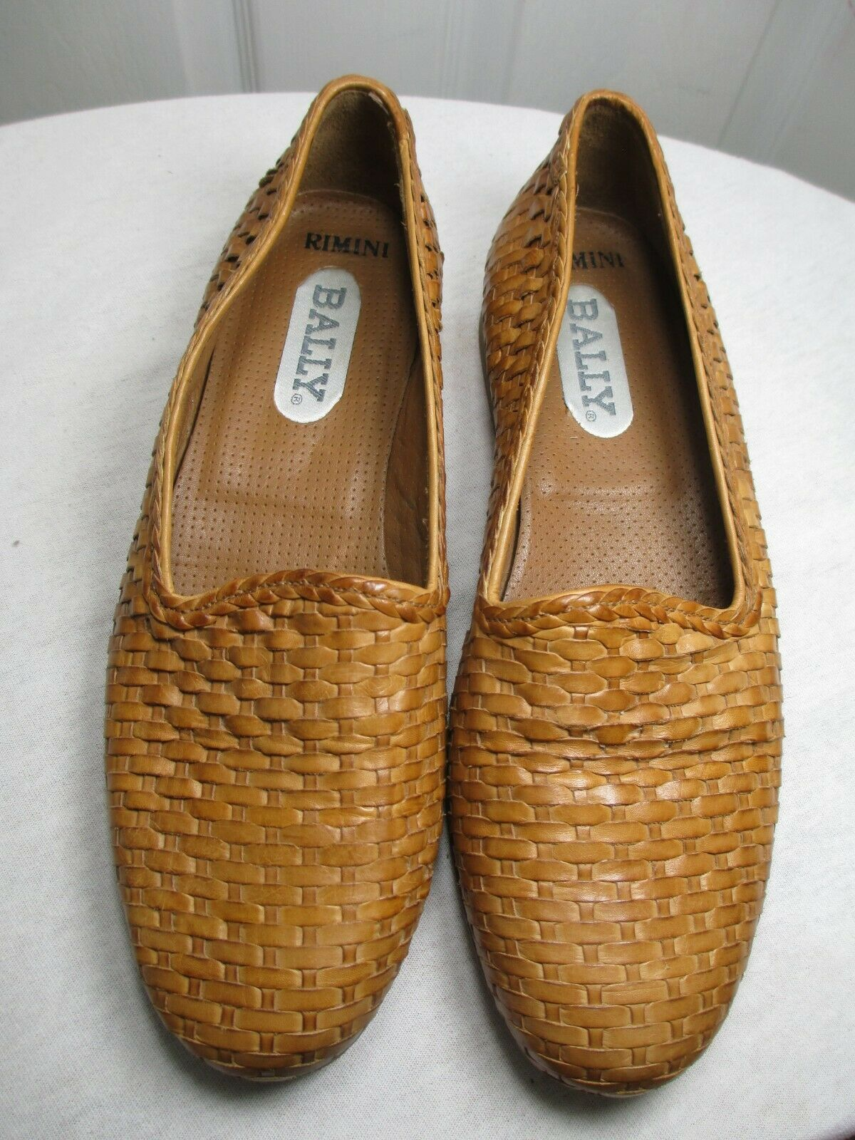 BALLY WOMEN'S COGNAC WOVEN LEATHER LOAFERS SIZE 7 M MADE IN ITALY