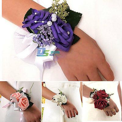 Wedding Party Beads Pearl Roses Ribbon Corsage Prom Wrist Flower Bracelet Decor