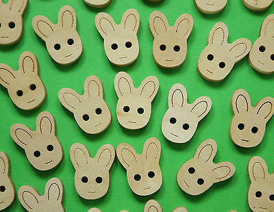 99p Sale! 100x Natural Wood Button Embellishments - Cute Easter Bunny 17mm/0.6""
