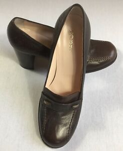 HOBBS-EU-38-UK-5-Brown-Leather-Shoes-Round-Toe-Block-Heel-Leather-Sole-Smart-NEW