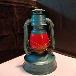 Vintage Dietz Blue Little Wizard Railroad Lantern Ruby Red Glass