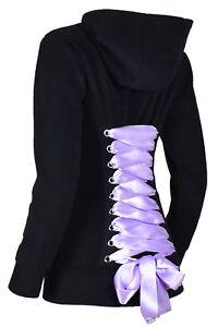 50e1a7f19e2 Image is loading Black-Fleece-Corset-Hoodie-Lavender-Lacing-S-M-L-XL-