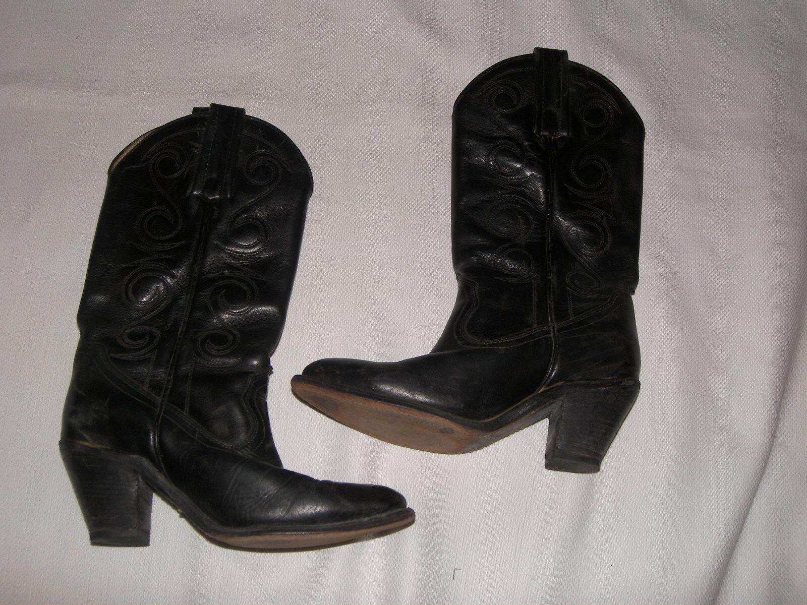 Mujer botas de Vaquero Frye Cuero Negro Tamaño 6 1 2 B