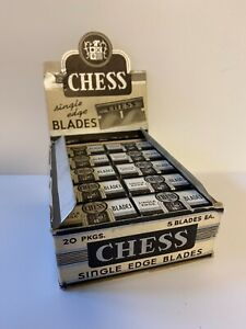 Vintage-NOS-Unused-Box-of-Razor-Blades-Rare-Chess-Brand-20-Packs-Lot-1