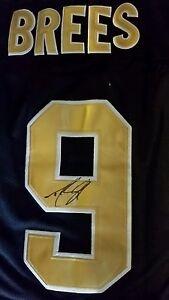 purchase cheap 68ae5 944db Details about Drew Brees #9 Signed NFL New Orleans Saints Reebok On Field  Replica Jersey Auto