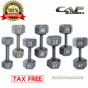 La Foto Se Esta Cargando CAP Barbell Dumbbells Cast Iron PAIR Hex Weight